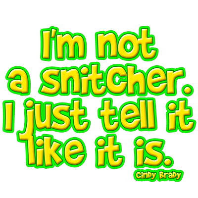 I'm Not a Snitcher, I Just Tell It Like It Is