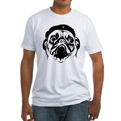 Pug Revolutionary Icon- Ash Grey Fitted T-Shirt