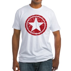 Red Circle Star black shirt Fitted T-Shirt