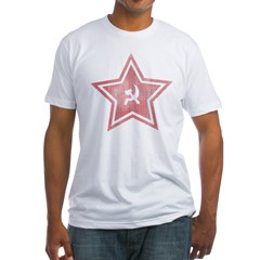 Red-Star-Faded-Blk Fitted T-Shirt