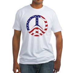 Patriotic Peace Sign Fitted T-Shirt