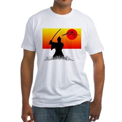 Samurai in Sun Fitted T-Shirt