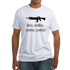 10x10trans_here_zombie Fitted T-Shirt