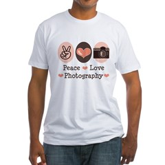 Peace Love Photography Camera Fitted T-Shirt