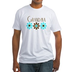 Grandma - Blue/Brown Flowers Fitted T-Shirt