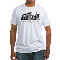 stonehenge_bw_onblk Fitted T-Shirt