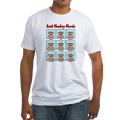 Sock Monkey Moods Fitted T-Shirt