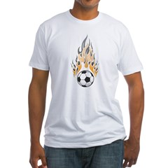 Soccer Ball & Flame Fitted T-Shirt