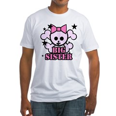 Pink bow skull big sister Fitted T-Shirt