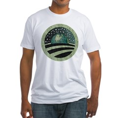 ObamaEarth-distressed on black Fitted T-Shirt