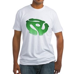 green-3d-45-rpm-adapter-dk Fitted T-Shirt