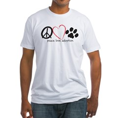 peace love adoption.001 Fitted T-Shirt