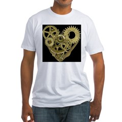 Women's Steampunk Heart T-Shirt (black) Fitted T-Shirt