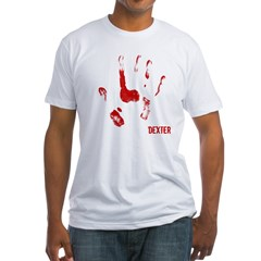 Bloody hand Print Blk Fitted T-Shirt