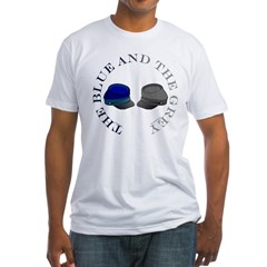 Blue and Grey Fitted T-Shirt