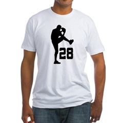 Baseball Uniform Number 28 Fitted T-Shirt