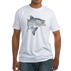 Lunker's Stripe Bass Ash Grey Fitted T-Shirt