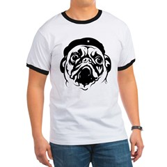 Pug Revolutionary Icon- Ash Grey Ringer T