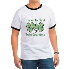 Lucky To Be A Twin Grandma Ringer T