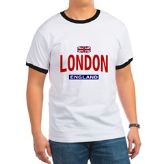 London England Ash Grey Ringer T