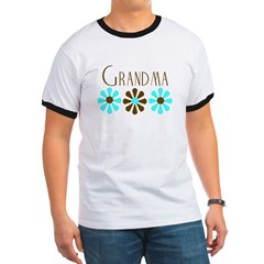 Grandma - Blue/Brown Flowers Ringer T