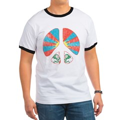 Free Tibet Peace Sign Ringer T