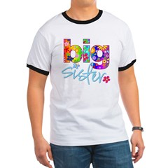 2-big sister flower back Ringer T