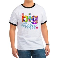 big sister t-shirt flower Ringer T