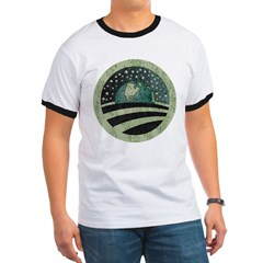 ObamaEarth-distressed on black Ringer T