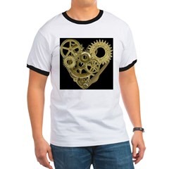 Women's Steampunk Heart T-Shirt (black) Ringer T