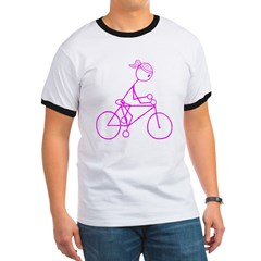 Bicycle Girl- Pink Ringer T