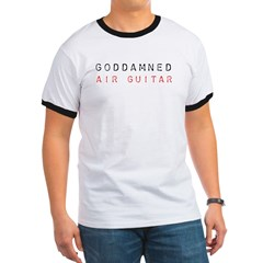 GODDAMNED AIR GUITAR Ash Grey Ringer T