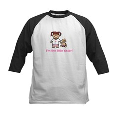 """I'm the little sister!"" (pink) Kids Kids Baseball Jersey"