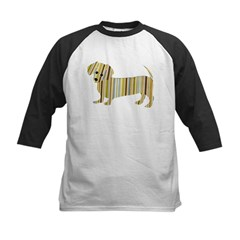 Striped Dachshund Puppy Kids Baseball Jersey