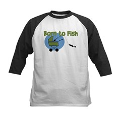 Born To Fish Kids Baseball Jersey