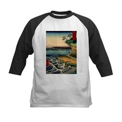 Japanese Ukiyo-e Mt. Fuji Kids Baseball Jersey