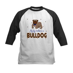 My Big Brother is bullDog Baby Kids Baseball Jersey