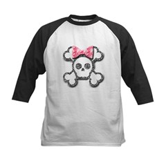 Girl Skull and Crossbones Pink Bow Kids Baseball Jersey