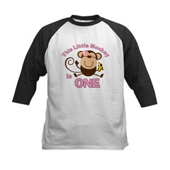 Little Monkey 1st Birthday Girl Kids Baseball Jersey