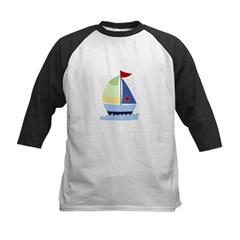 Nautical Sailboat Kids Baseball Jersey