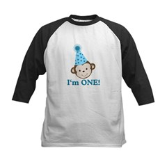 First Birthday Cute Monkey Kids Baseball Jersey
