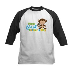 Boy Monkey Happy 1st Fathers Day Kids Baseball Jersey