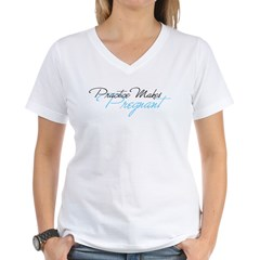 Practice Makes Pregnan Women's V-Neck T-Shirt