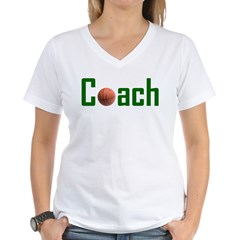 Basketball Coach Green Women's V-Neck T-Shirt