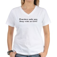 """Practice Safe Sex - EMT"" Women's V-Neck T-Shirt"