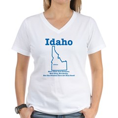 Idaho: Potatoes! Women's V-Neck T-Shirt