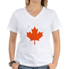 Canadian Maple Leaf Women's V-Neck T-Shirt