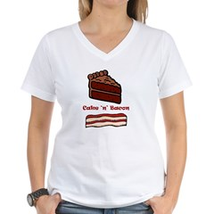CakeNBacon.jpg Women's V-Neck T-Shirt