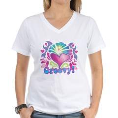 Hippie Groovy Heart Design Women's V-Neck T-Shirt