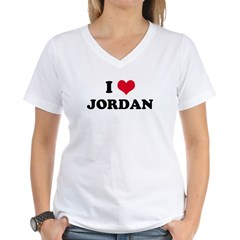 I HEART JORDAN Women's V-Neck T-Shirt